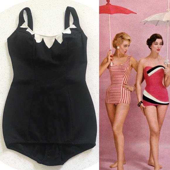 1950s pinup 50s Jantzen Black /& Gold Swimsuit